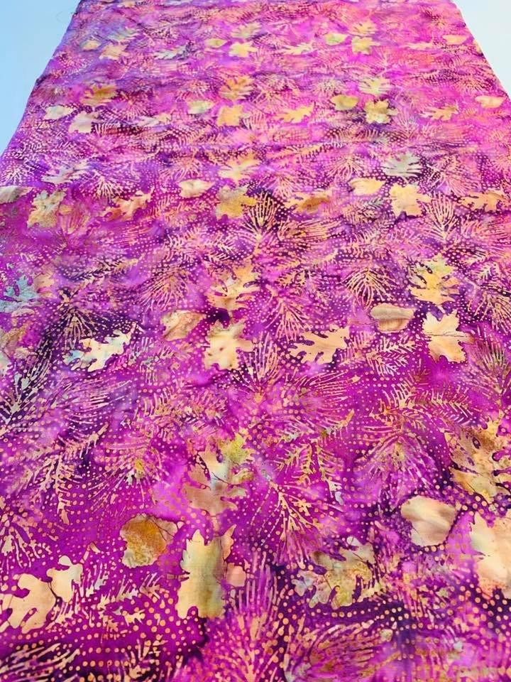 Fall Leaves on Pink Batik