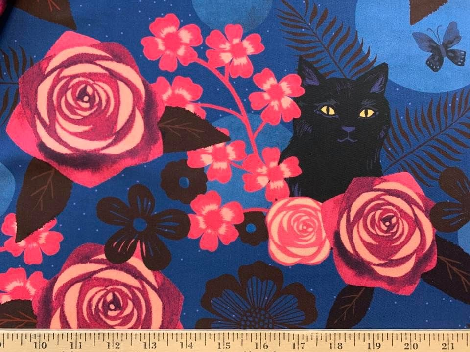 Black Cats Pink Flowers Rayon