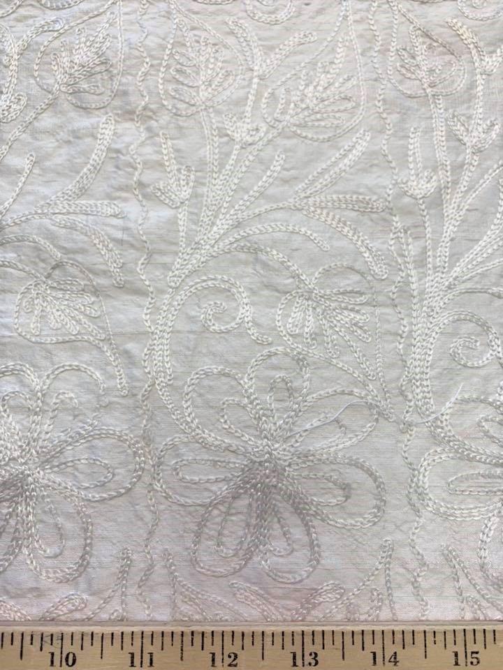 Chain Stitch Embroidered Dupioni
