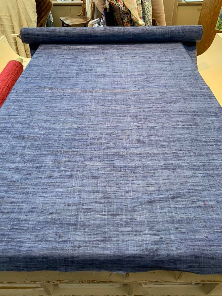 Denim Blue Raw Silk