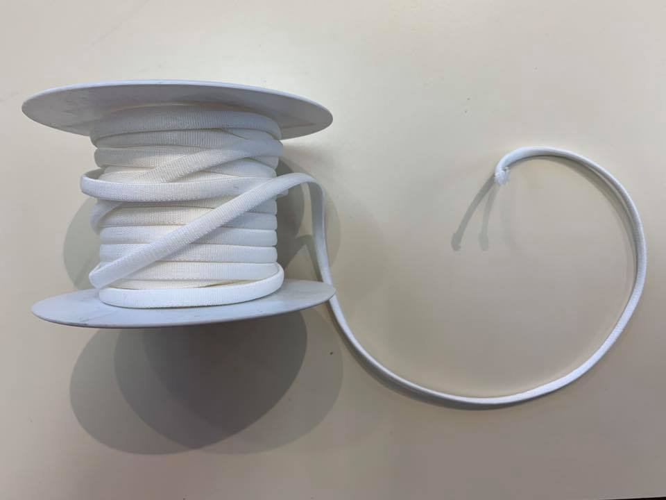 White Elastic Cord 1/4