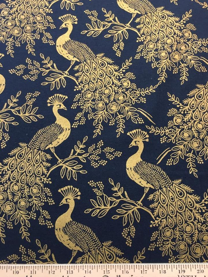 Gold Peacocks on Blue Canvas
