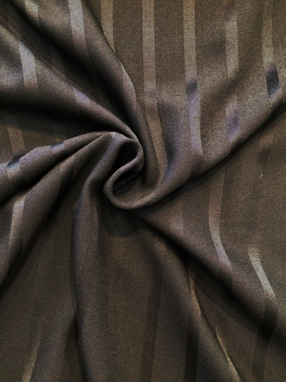 Black Wool Crepe with Satin Stripe