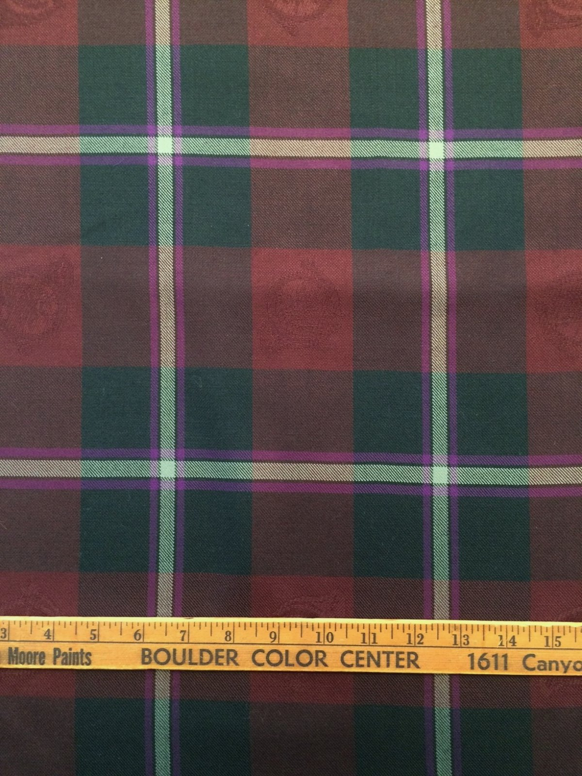 Lg. Scale Plaid Wool in Dk. Green Burgundy Violet and Silver