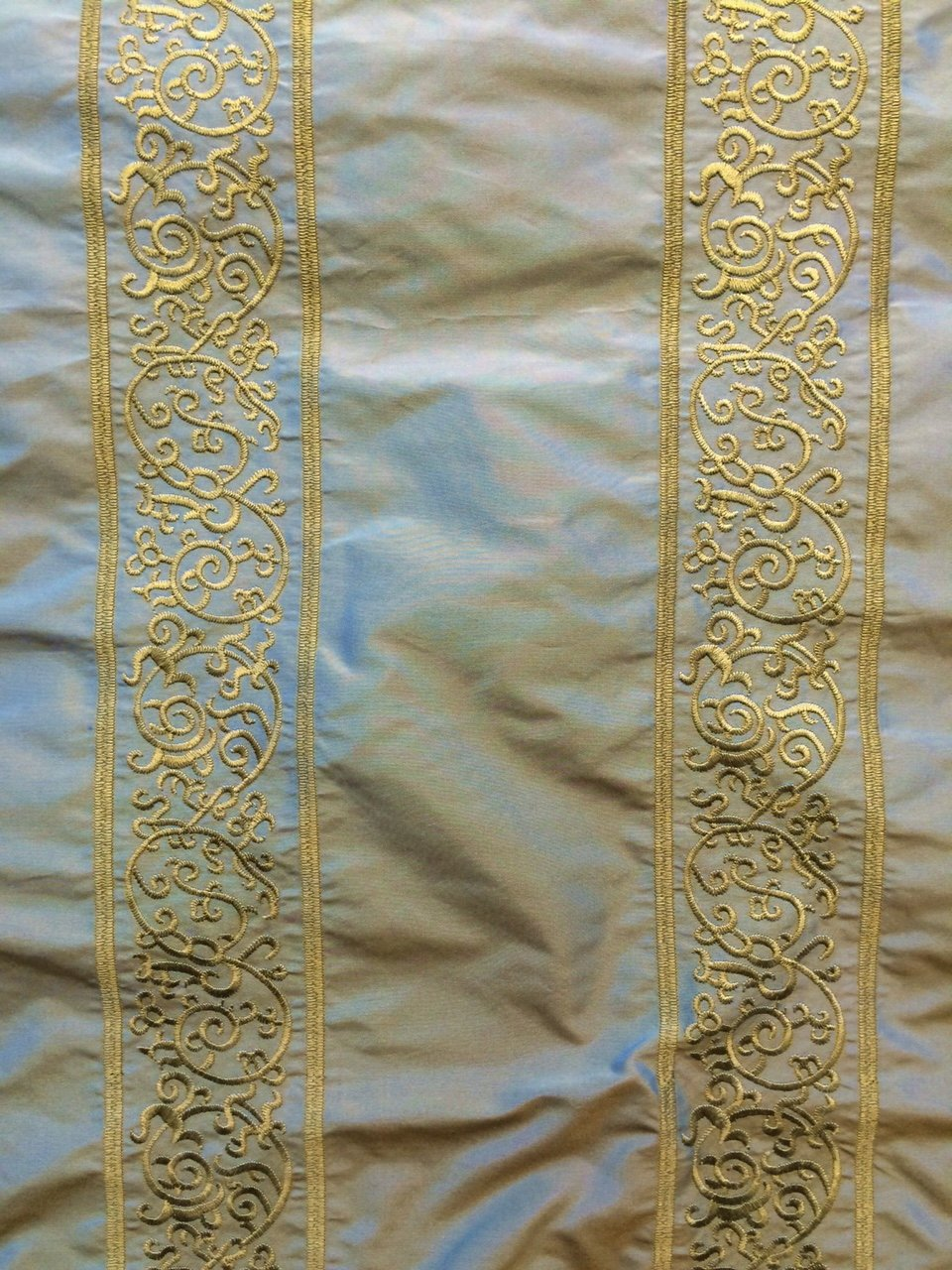 Gold Embroidered Stipes on an Ether Silk Background