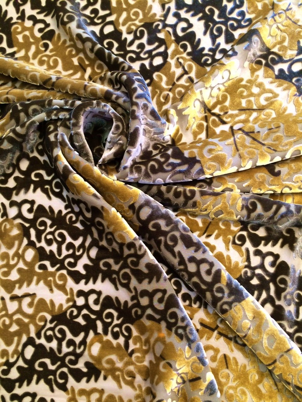 Green and Gold Burnout Silk Velvet