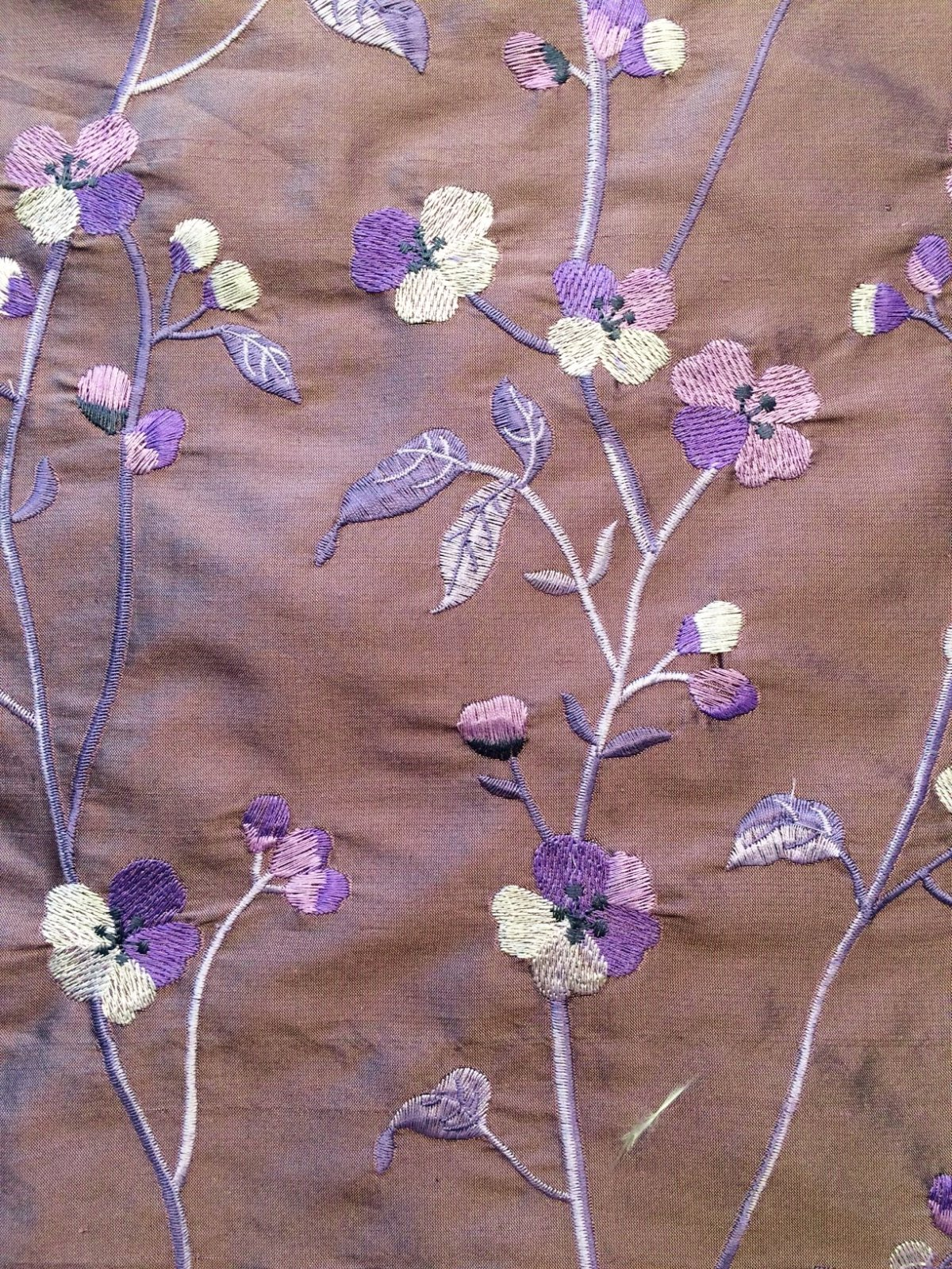 Purple with Embroidered Flowers
