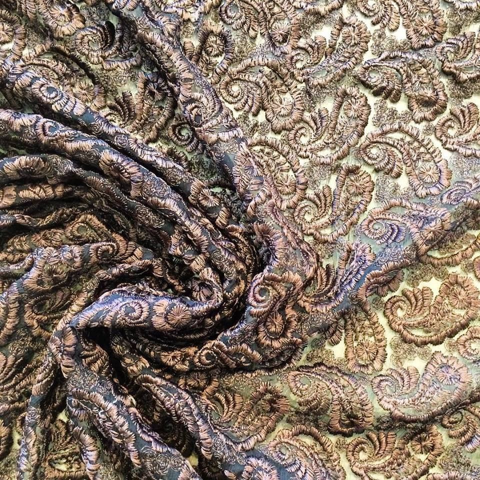 Paisley Embroidered Crinkle Silk Chiffon in Brown