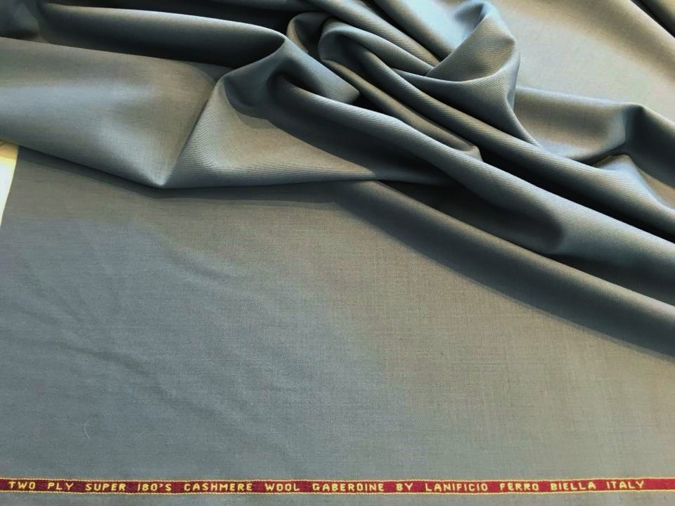 Storm Cloud Blue Cashmere Wool Gabardine