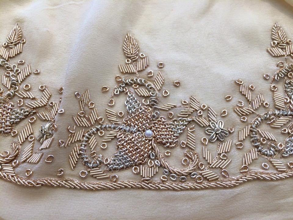 Viva Las Vegas Border Embroidered Silk Chiffon
