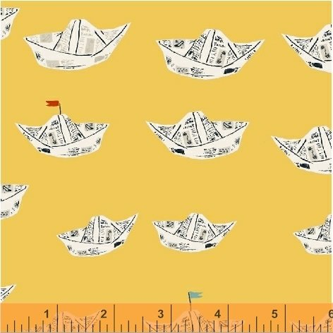 Newspaper Boats in Yellow