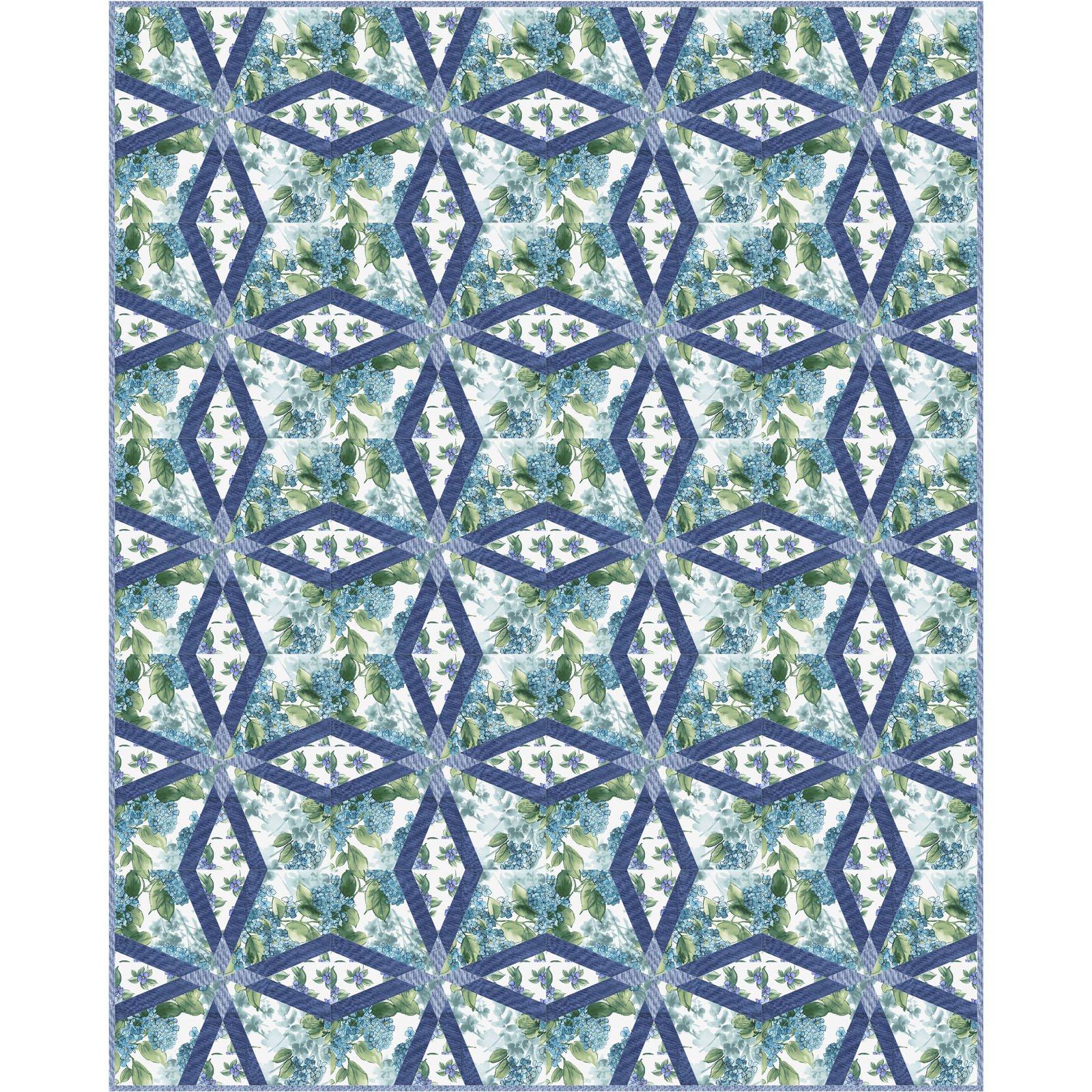 Watercolor Hydrangeas Quilt Kit