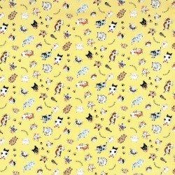 Kokka, Tossed Cats, Yellow, Canvas
