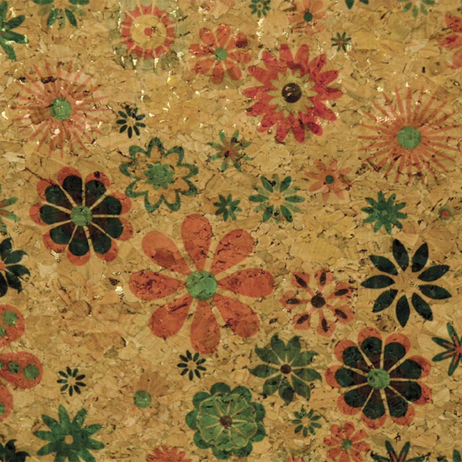 Cork Fabric Natural with Groovy Flowers