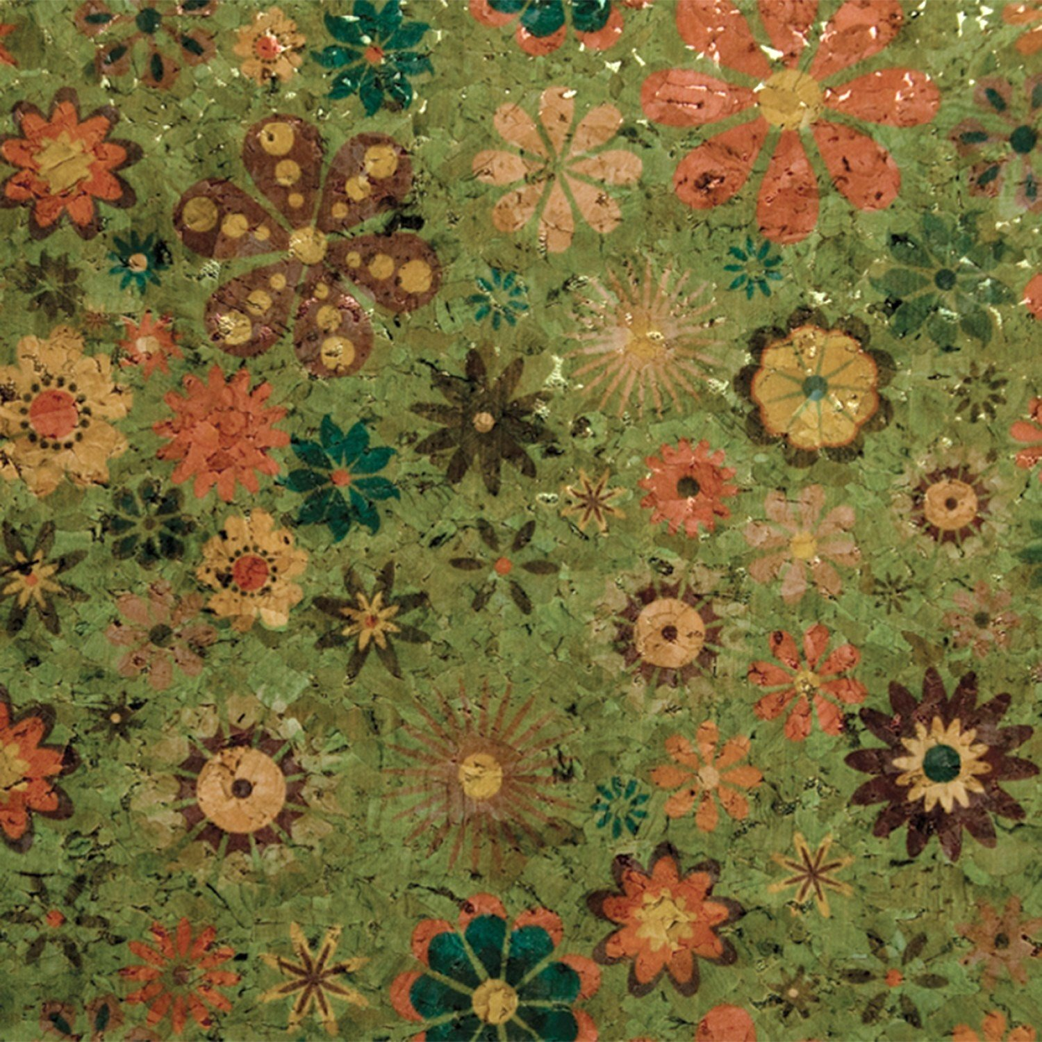 Cork Fabric Lime Green with Groovy Flowers