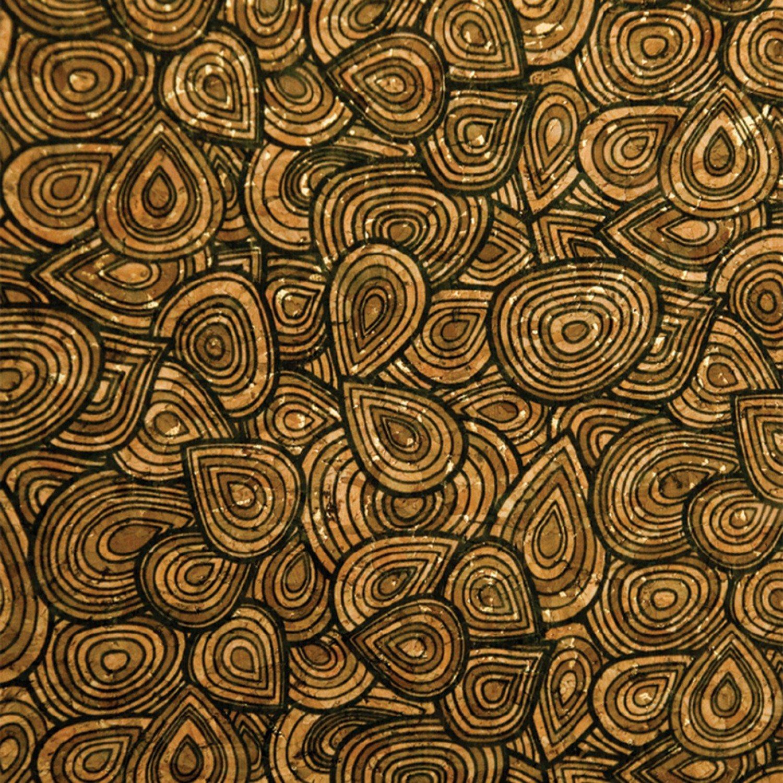 Cork Fabric Olive & Black Teardrop