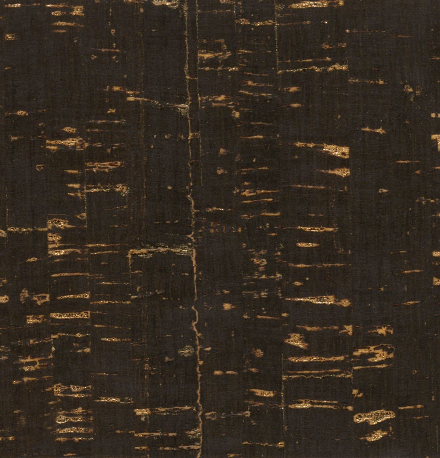 Cork Fabric Black with Gold Metallic