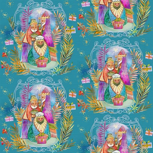 Three Kings Teal Christmas Peace