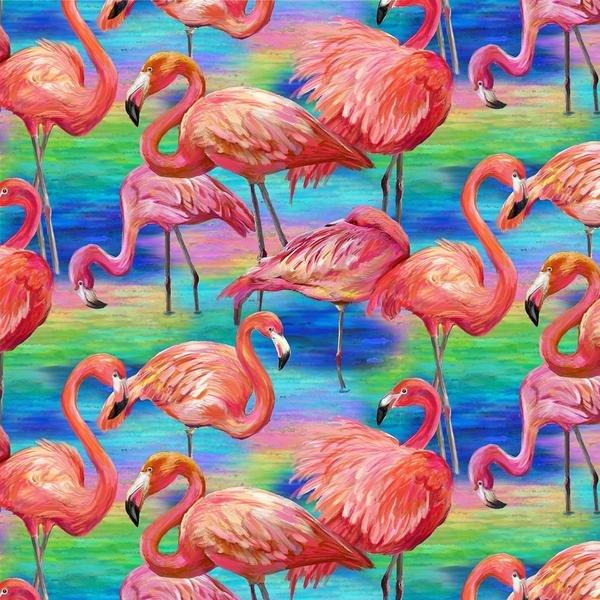 Large Allover Blue Flamingo