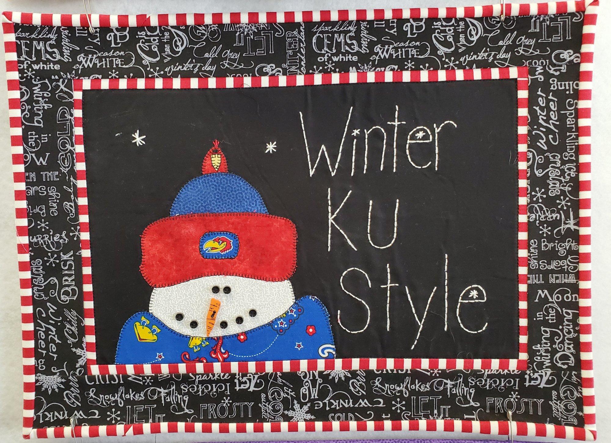 Winter KU Style Fabric Kit 12.5 x 16.5 (Pattern Not Included)