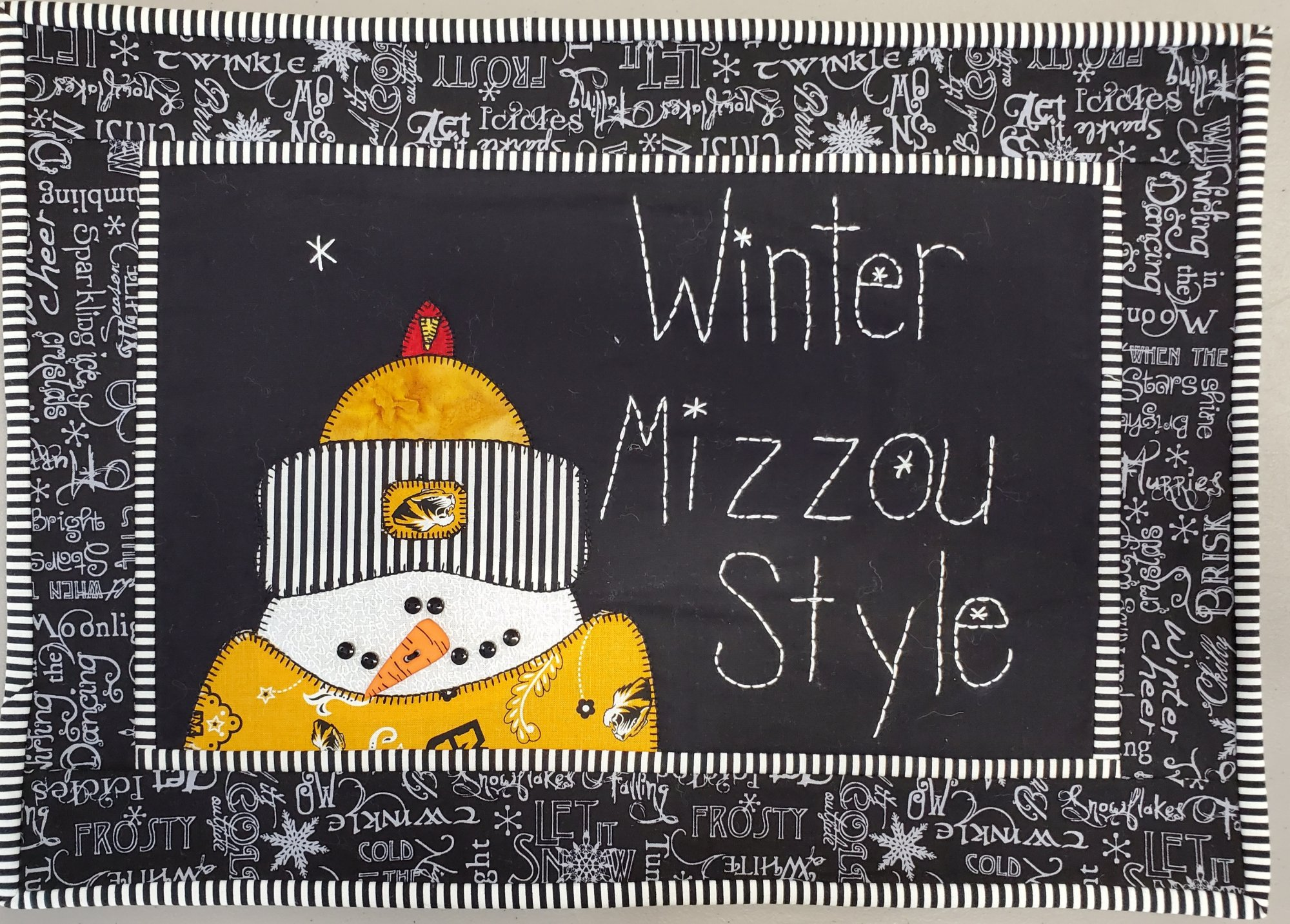 Winter Mizzou Style Fabric Kit 12.5 x 16.5 (Pattern Not Included)