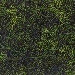 Black/Green Large Leaves Batik