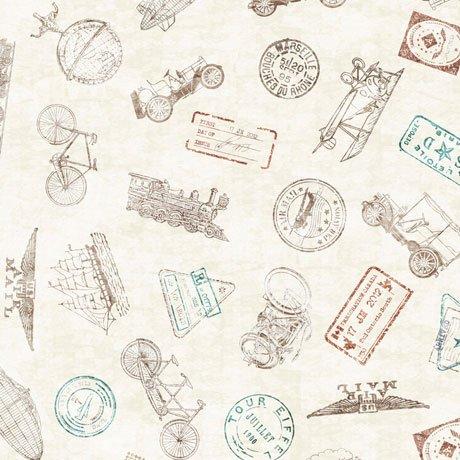 Wanderlust Passport Stamps Tan