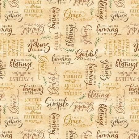 Farmstead Gold Words Allover