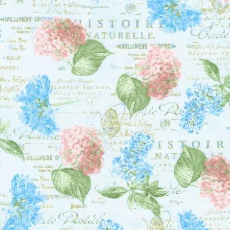 Periwinkle Floral on Script Jardin*