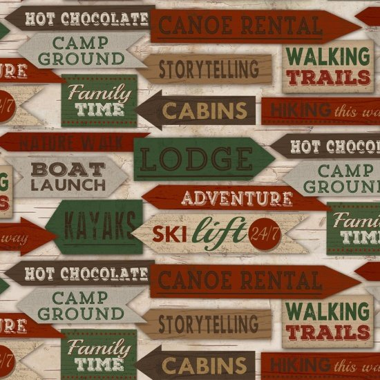 Signs Flannel Multi Woodland Retreat*