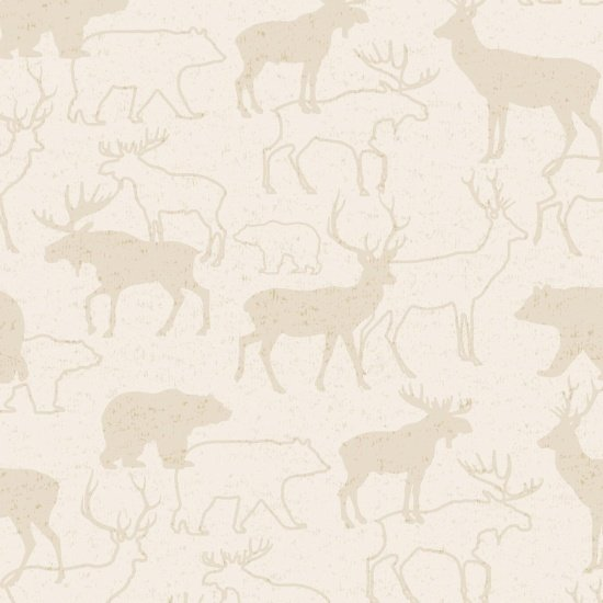 Animal Silhouette Flannel White Woodland Retreat*