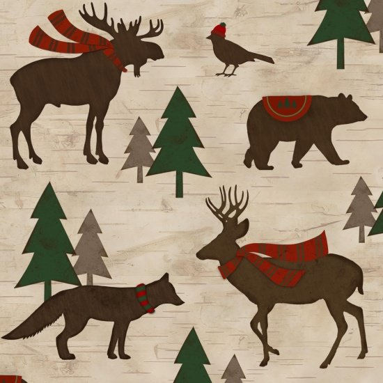 Animals Flannel Multi Woodland Retreat*