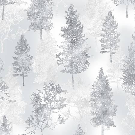 Trees Frost Silver Metallic A Winter's Sky