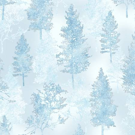 Trees Ice Blue Silver Metallic A Winter's Sky