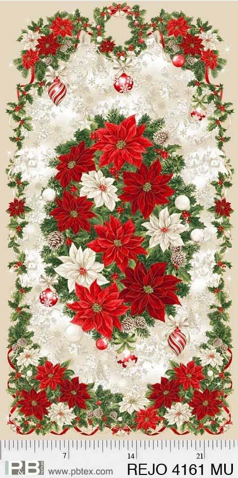 Poinsettia Panel 24x44 approx. Multi Rejoice