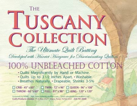 Tuscany Twin 72x96 Unbleached 100% Cotton Batting