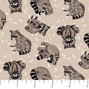 Northcott - Woodland Pitter Patter - Raccoons