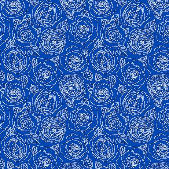 Andover - Mosaic - Rose Outlines - True Blue