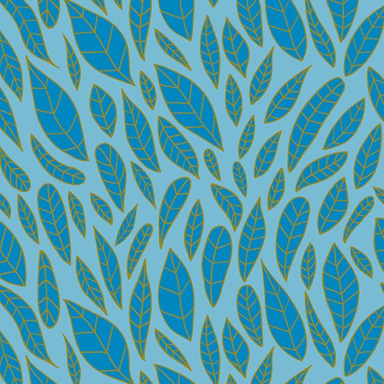 Andover - Mosaic - Leaves - Cerulean
