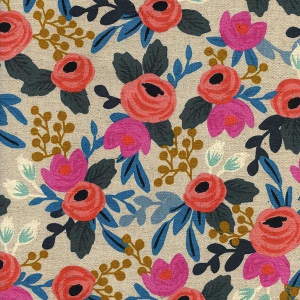 Rifle Paper Co - Les Fleurs Canvas - Rosa Floral - Natural