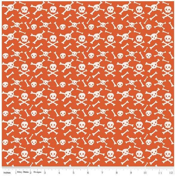 Riley Blake - Cats Bats and Jacks - Orange Skulls