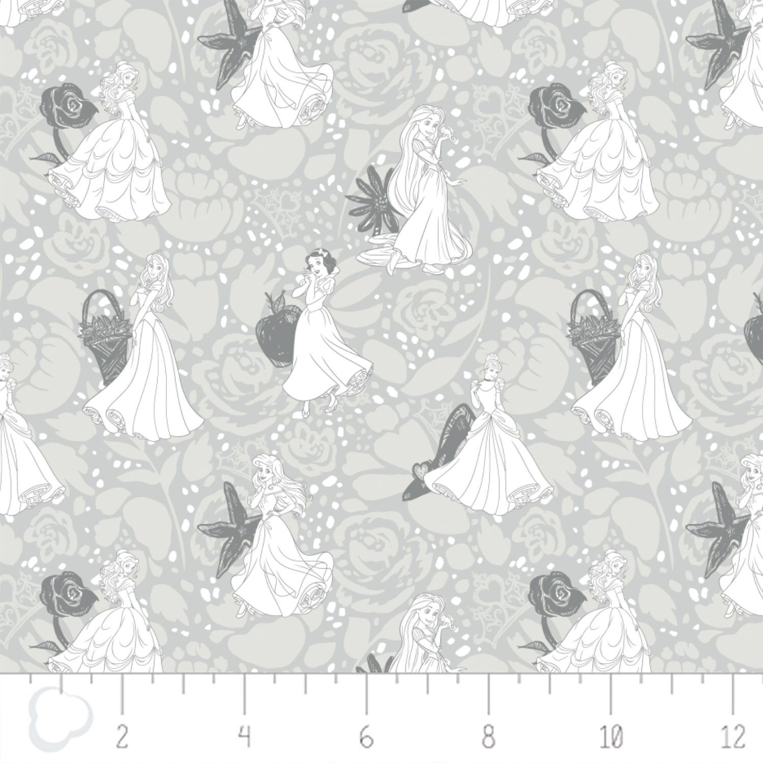 Camelot - Disney Princesses - Line Drawing in Grey