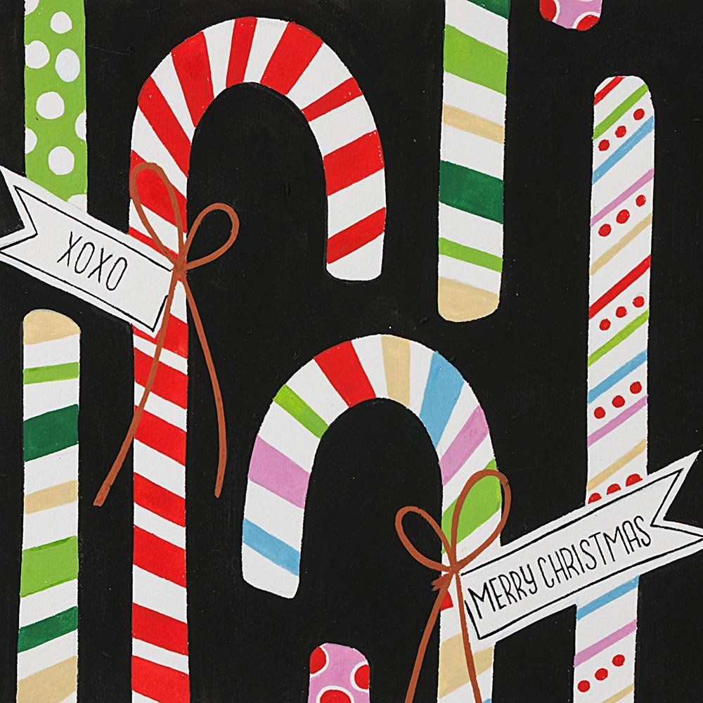 Christmas Time - Candy Canes - Black