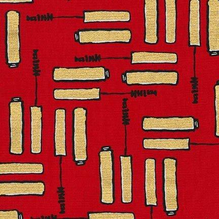 Robert Kaufman - Bouffants & Broken Hearts Metallic - Red
