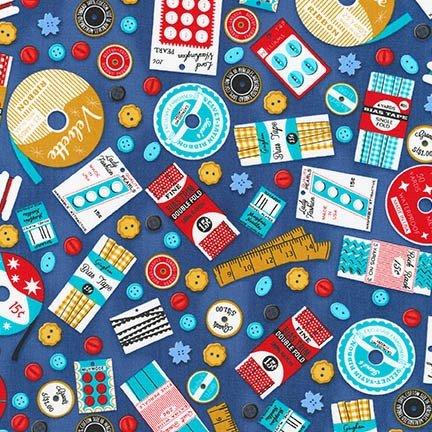 Robert Kaufman - Gran's Sewing Basket - Blue