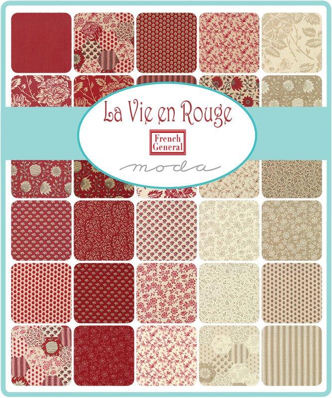 French General - La Vie En Rouge - Charm Squares