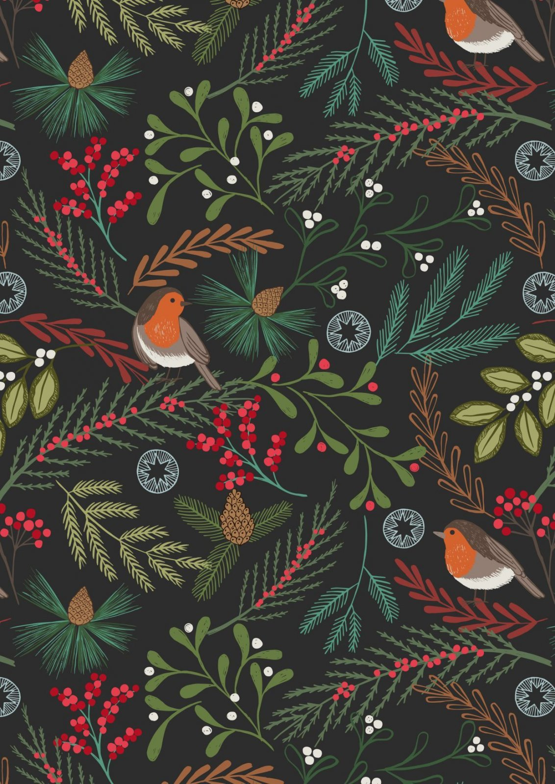 New Forest Winter - Robin - Black