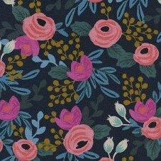 Rifle Paper Co. - Menagerie Cotton Linen Canvas - Navy Rosa