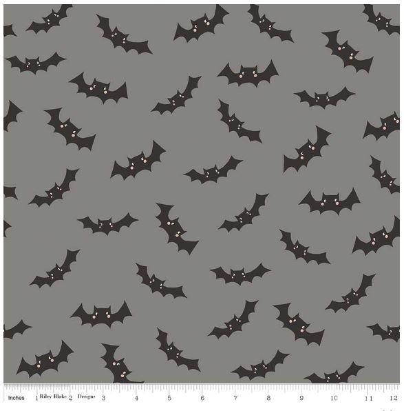 Riley Blake - Cats Bats and Jacks - Gray Bats