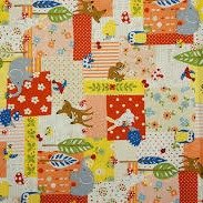 Kokka - Woodland Creatures - Pink Red & White Patchwork